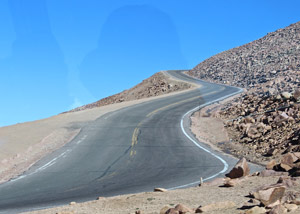 The toll road above timberline on Pikes Peak - an example of the road used for the International Pikes Peak Hill Climb race. It comes very close to the edge.