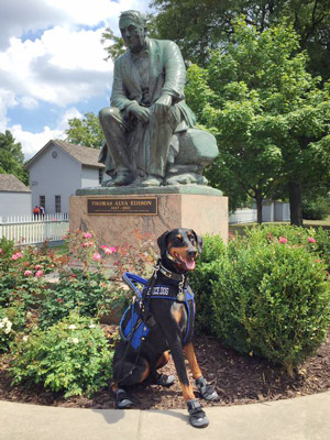 Kaline, in his blue harness and black boots, poses in front of the Thomas Edison Statue in Greenfield Village.