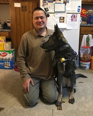 Buddy with his service dog